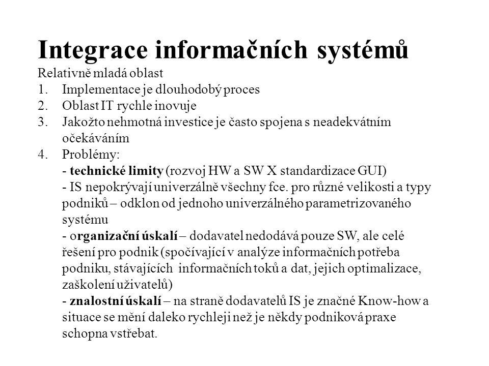 Integrace informačních systémů Relativně mladá oblast 1.Implementace je dlouhodobý proces 2.Oblast IT rychle inovuje 3.Jakožto nehmotná investice je často spojena s neadekvátním očekáváním 4.Problémy: - technické limity (rozvoj HW a SW X standardizace GUI) - IS nepokrývají univerzálně všechny fce.