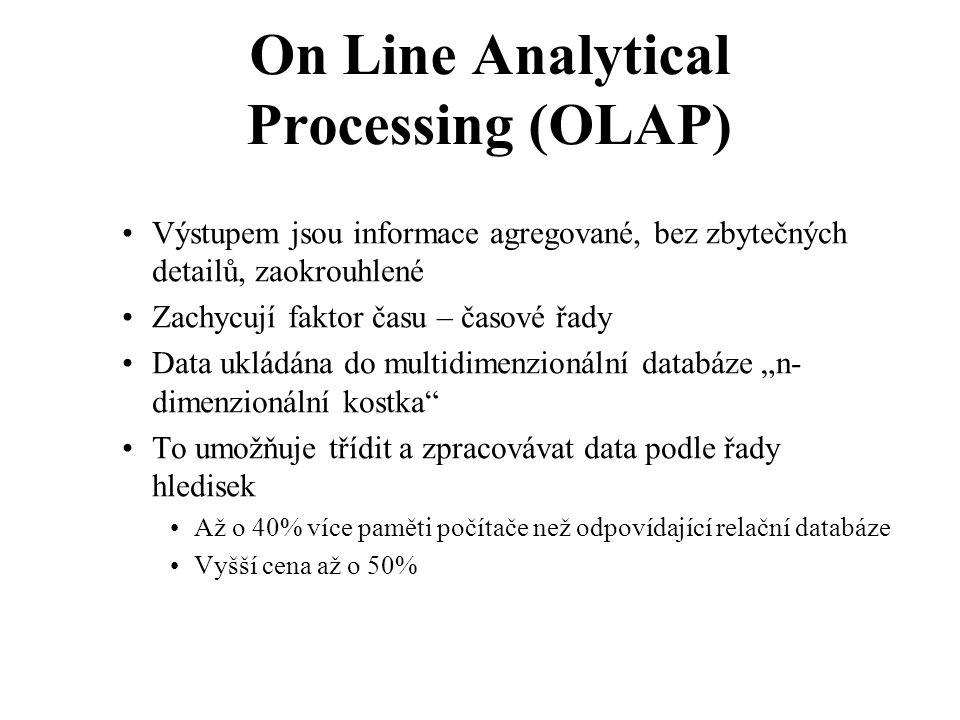 """On Line Analytical Processing (OLAP) Výstupem jsou informace agregované, bez zbytečných detailů, zaokrouhlené Zachycují faktor času – časové řady Data ukládána do multidimenzionální databáze """"n- dimenzionální kostka To umožňuje třídit a zpracovávat data podle řady hledisek Až o 40% více paměti počítače než odpovídající relační databáze Vyšší cena až o 50%"""