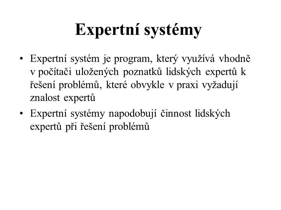 Expertní systém je program, který využívá vhodně v počítači uložených poznatků lidských expertů k řešení problémů, které obvykle v praxi vyžadují znalost expertů Expertní systémy napodobují činnost lidských expertů při řešení problémů Expertní systémy