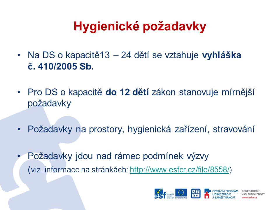 Hygienické požadavky Na DS o kapacitě13 – 24 dětí se vztahuje vyhláška č.