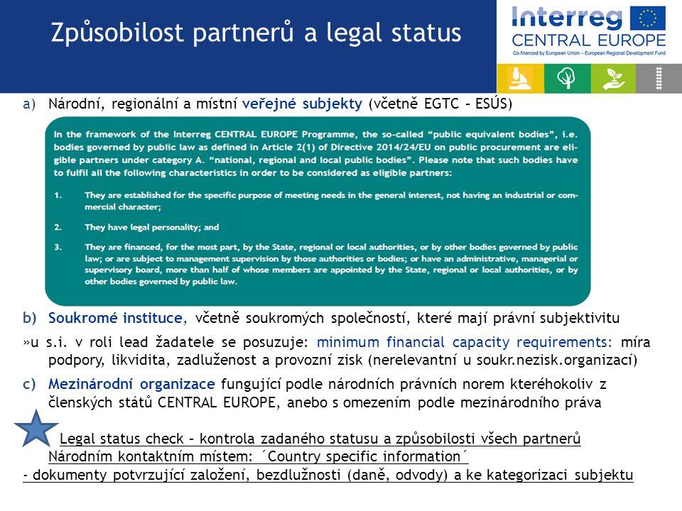 a)Národní, regionální a místní veřejné subjekty (včetně EGTC – ESÚS) b)Soukromé instituce, včetně soukromých společností, které mají právní subjektivi