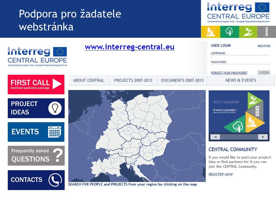 Podpora pro žadatele webstránka www.interreg-central.eu