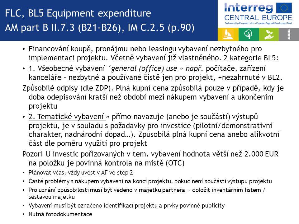 Financování koupě, pronájmu nebo leasingu vybavení nezbytného pro implementaci projektu.