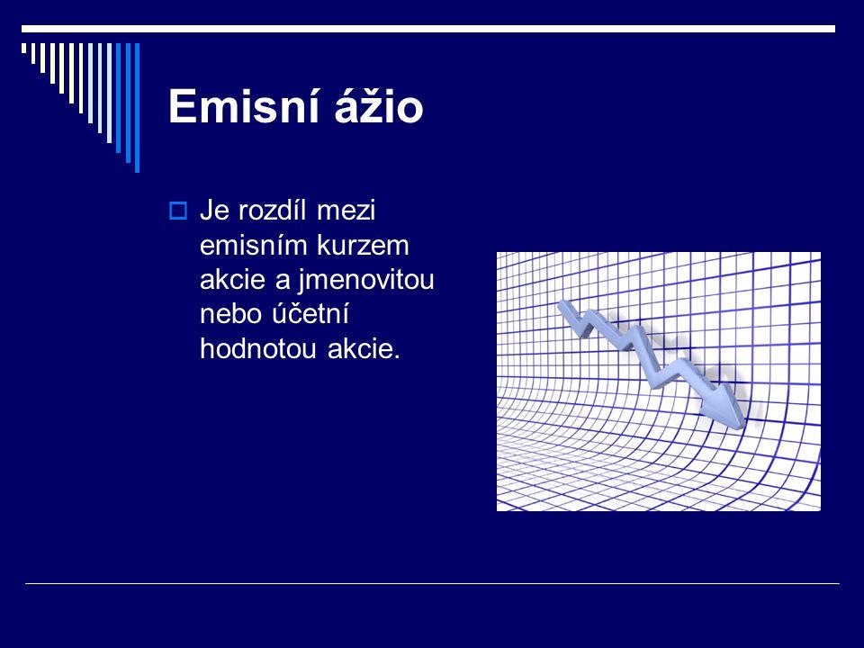 Emisní ážio  Je rozdíl mezi emisním kurzem akcie a jmenovitou nebo účetní hodnotou akcie.