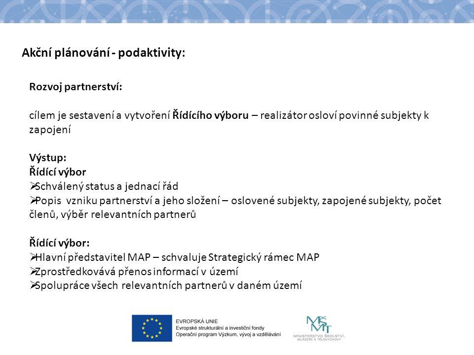 Akční plánování - podaktivity: Rozvoj partnerství: cílem je sestavení a vytvoření Řídícího výboru – realizátor osloví povinné subjekty k zapojení Výst