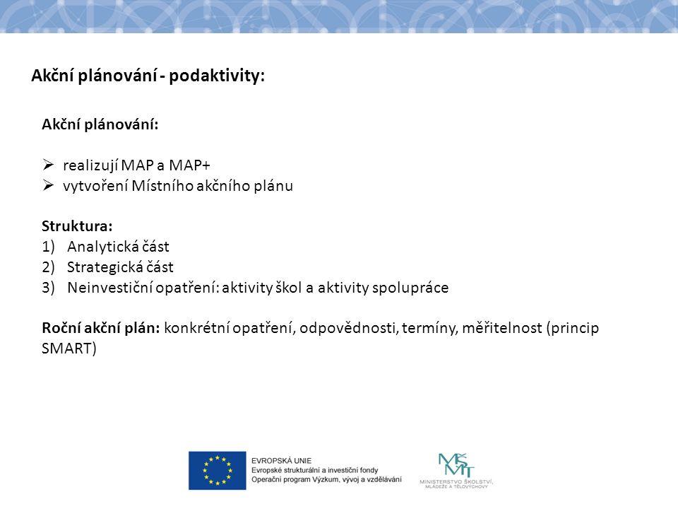 Akční plánování - podaktivity: Akční plánování:  realizují MAP a MAP+  vytvoření Místního akčního plánu Struktura: 1)Analytická část 2)Strategická část 3)Neinvestiční opatření: aktivity škol a aktivity spolupráce Roční akční plán: konkrétní opatření, odpovědnosti, termíny, měřitelnost (princip SMART)