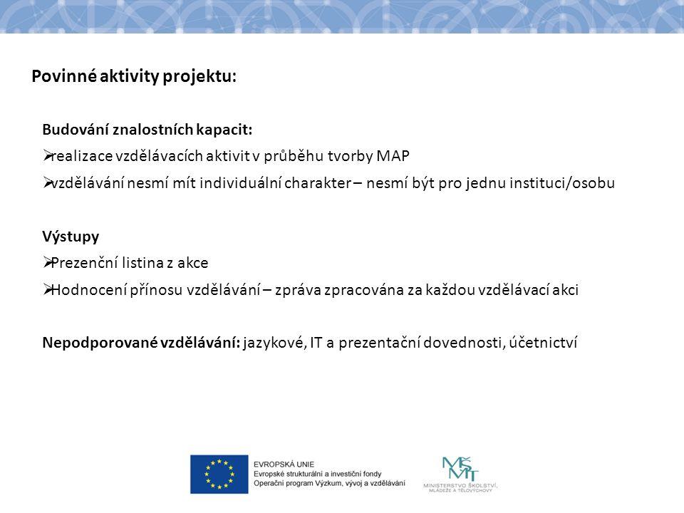 Povinné aktivity projektu: Budování znalostních kapacit:  realizace vzdělávacích aktivit v průběhu tvorby MAP  vzdělávání nesmí mít individuální charakter – nesmí být pro jednu instituci/osobu Výstupy  Prezenční listina z akce  Hodnocení přínosu vzdělávání – zpráva zpracována za každou vzdělávací akci Nepodporované vzdělávání: jazykové, IT a prezentační dovednosti, účetnictví