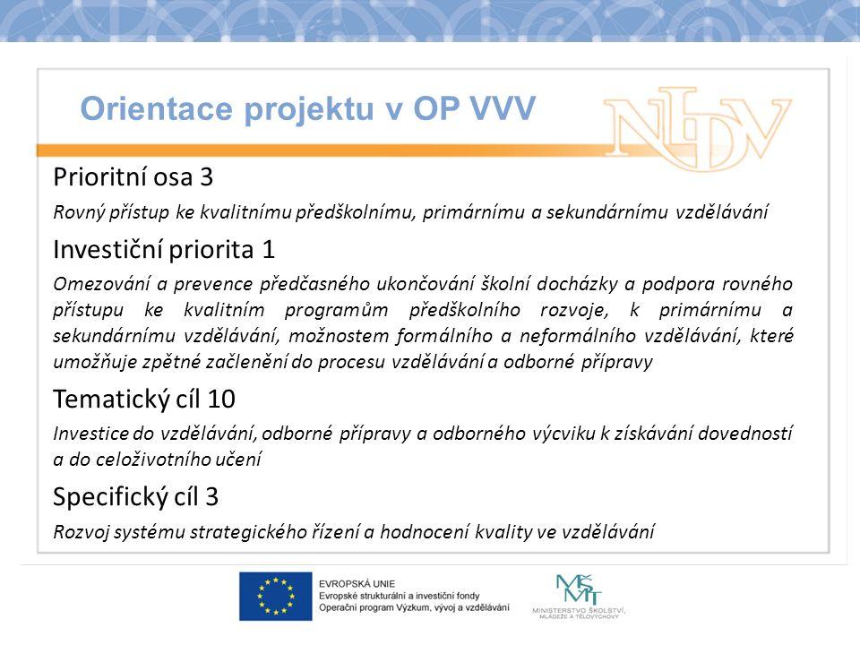 Orientace projektu v OP VVV Prioritní osa 3 Rovný přístup ke kvalitnímu předškolnímu, primárnímu a sekundárnímu vzdělávání Investiční priorita 1 Omezování a prevence předčasného ukončování školní docházky a podpora rovného přístupu ke kvalitním programům předškolního rozvoje, k primárnímu a sekundárnímu vzdělávání, možnostem formálního a neformálního vzdělávání, které umožňuje zpětné začlenění do procesu vzdělávání a odborné přípravy Tematický cíl 10 Investice do vzdělávání, odborné přípravy a odborného výcviku k získávání dovedností a do celoživotního učení Specifický cíl 3 Rozvoj systému strategického řízení a hodnocení kvality ve vzdělávání