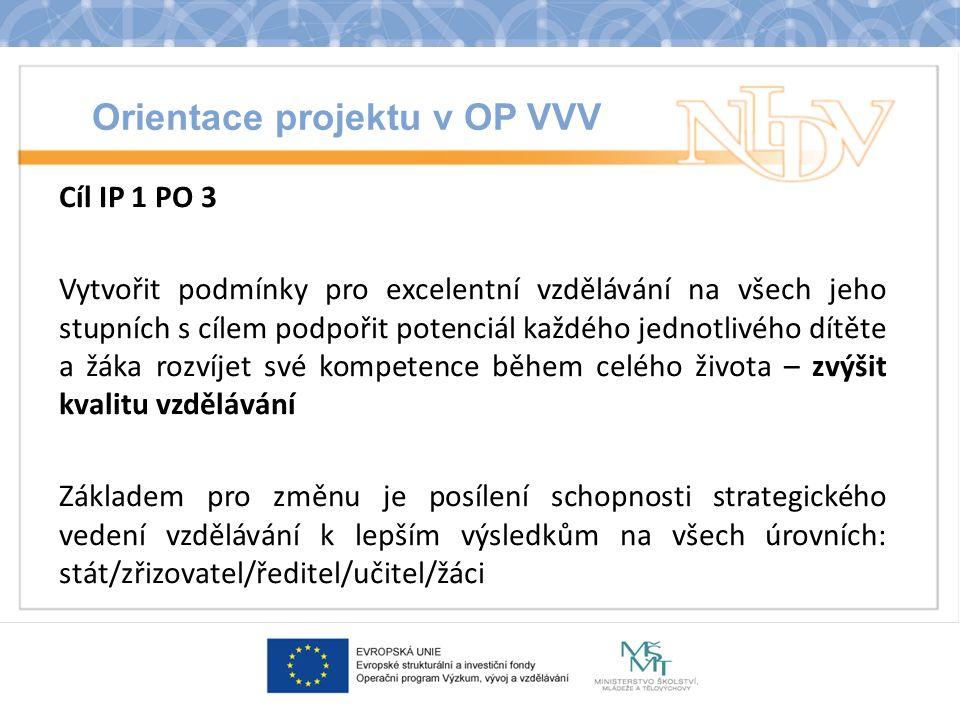 Orientace projektu v OP VVV Cíl IP 1 PO 3 Vytvořit podmínky pro excelentní vzdělávání na všech jeho stupních s cílem podpořit potenciál každého jednotlivého dítěte a žáka rozvíjet své kompetence během celého života – zvýšit kvalitu vzdělávání Základem pro změnu je posílení schopnosti strategického vedení vzdělávání k lepším výsledkům na všech úrovních: stát/zřizovatel/ředitel/učitel/žáci