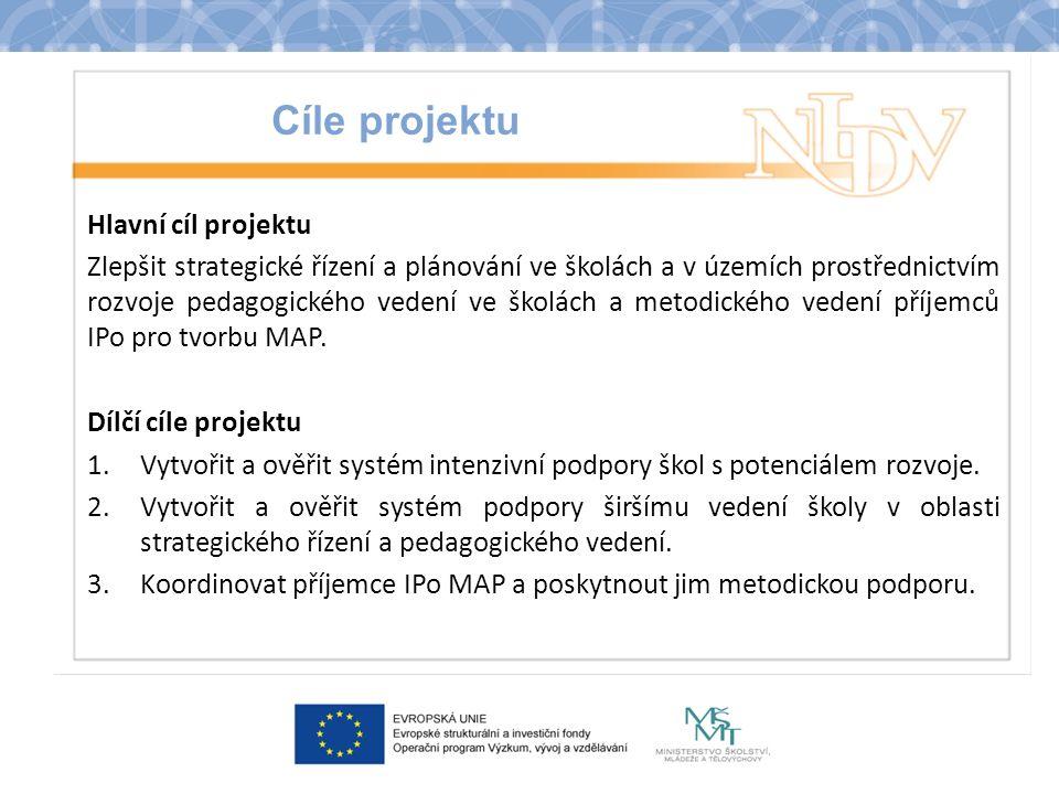 Cíle projektu Hlavní cíl projektu Zlepšit strategické řízení a plánování ve školách a v územích prostřednictvím rozvoje pedagogického vedení ve školách a metodického vedení příjemců IPo pro tvorbu MAP.