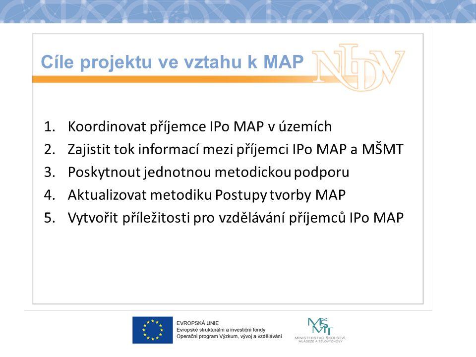 Cíle projektu ve vztahu k MAP 1.Koordinovat příjemce IPo MAP v územích 2.Zajistit tok informací mezi příjemci IPo MAP a MŠMT 3.Poskytnout jednotnou me
