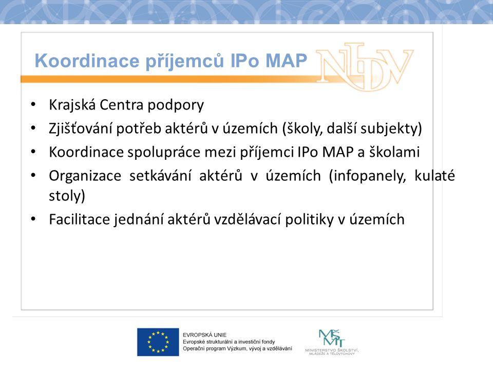 Koordinace příjemců IPo MAP Krajská Centra podpory Zjišťování potřeb aktérů v územích (školy, další subjekty) Koordinace spolupráce mezi příjemci IPo MAP a školami Organizace setkávání aktérů v územích (infopanely, kulaté stoly) Facilitace jednání aktérů vzdělávací politiky v územích