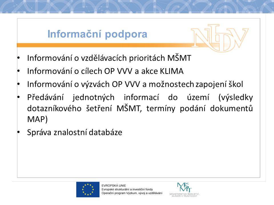 Informační podpora Informování o vzdělávacích prioritách MŠMT Informování o cílech OP VVV a akce KLIMA Informování o výzvách OP VVV a možnostech zapojení škol Předávání jednotných informací do území (výsledky dotazníkového šetření MŠMT, termíny podání dokumentů MAP) Správa znalostní databáze