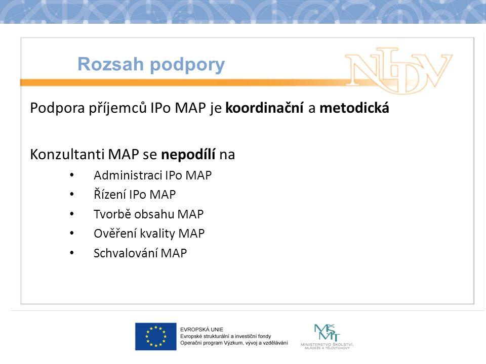 Rozsah podpory Podpora příjemců IPo MAP je koordinační a metodická Konzultanti MAP se nepodílí na Administraci IPo MAP Řízení IPo MAP Tvorbě obsahu MAP Ověření kvality MAP Schvalování MAP