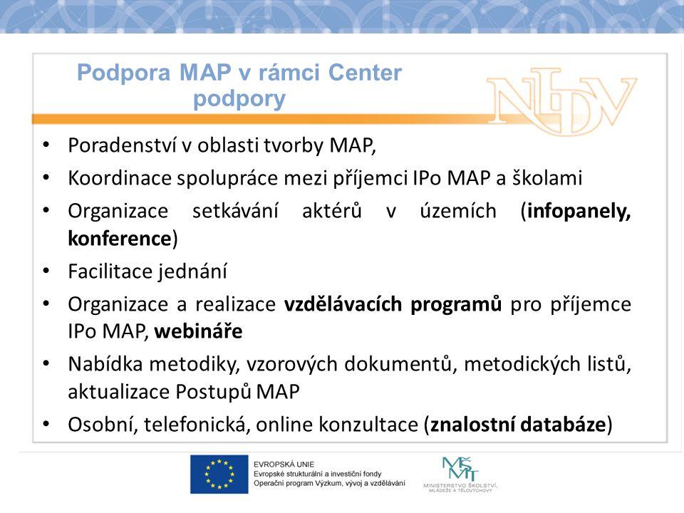 Podpora MAP v rámci Center podpory Poradenství v oblasti tvorby MAP, Koordinace spolupráce mezi příjemci IPo MAP a školami Organizace setkávání aktérů v územích (infopanely, konference) Facilitace jednání Organizace a realizace vzdělávacích programů pro příjemce IPo MAP, webináře Nabídka metodiky, vzorových dokumentů, metodických listů, aktualizace Postupů MAP Osobní, telefonická, online konzultace (znalostní databáze)