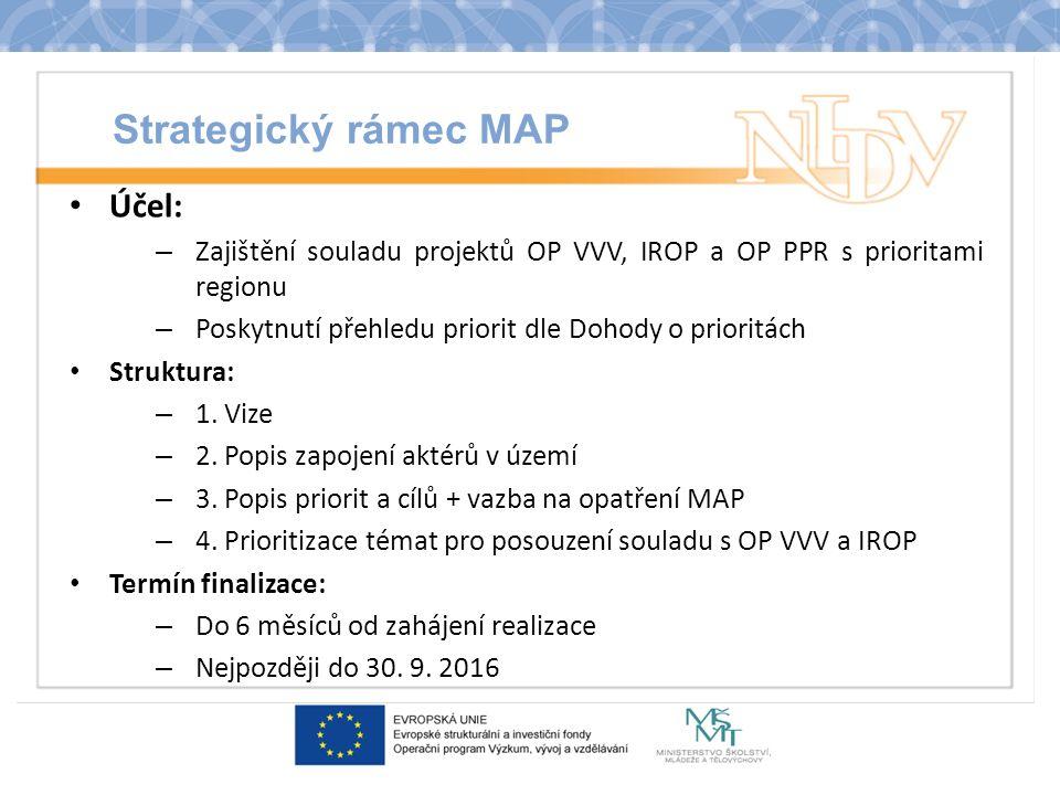 Strategický rámec MAP Účel: – Zajištění souladu projektů OP VVV, IROP a OP PPR s prioritami regionu – Poskytnutí přehledu priorit dle Dohody o priorit