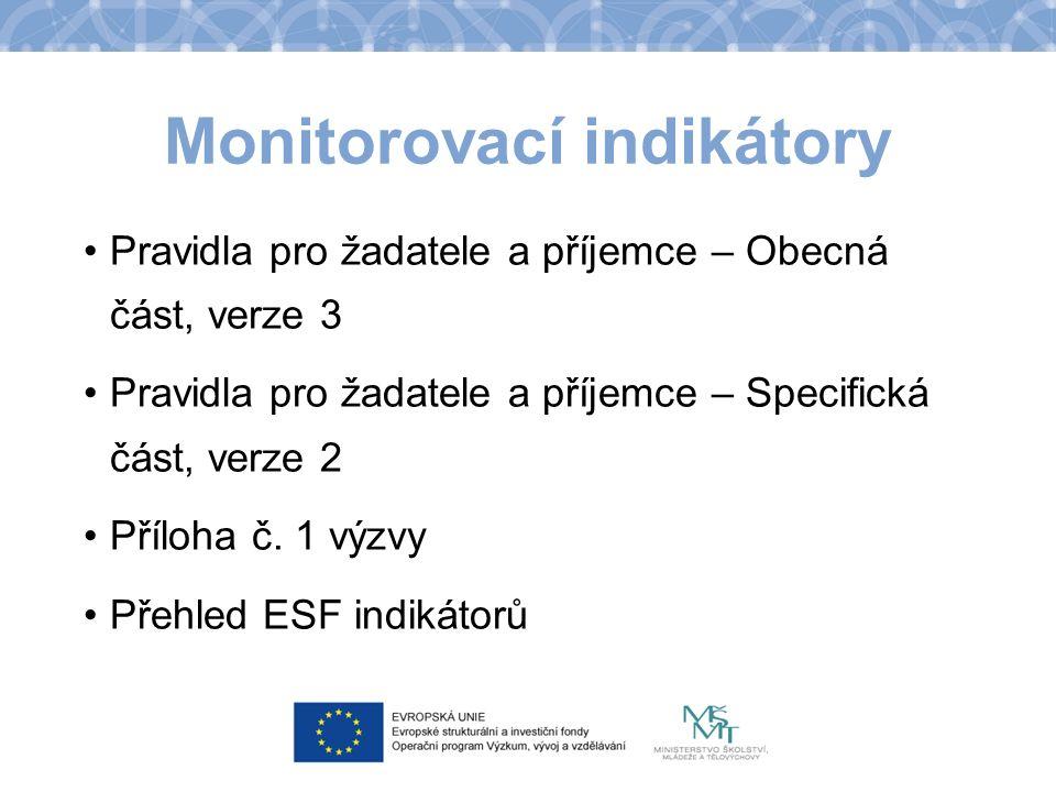 Monitorovací indikátory Pravidla pro žadatele a příjemce – Obecná část, verze 3 Pravidla pro žadatele a příjemce – Specifická část, verze 2 Příloha č.