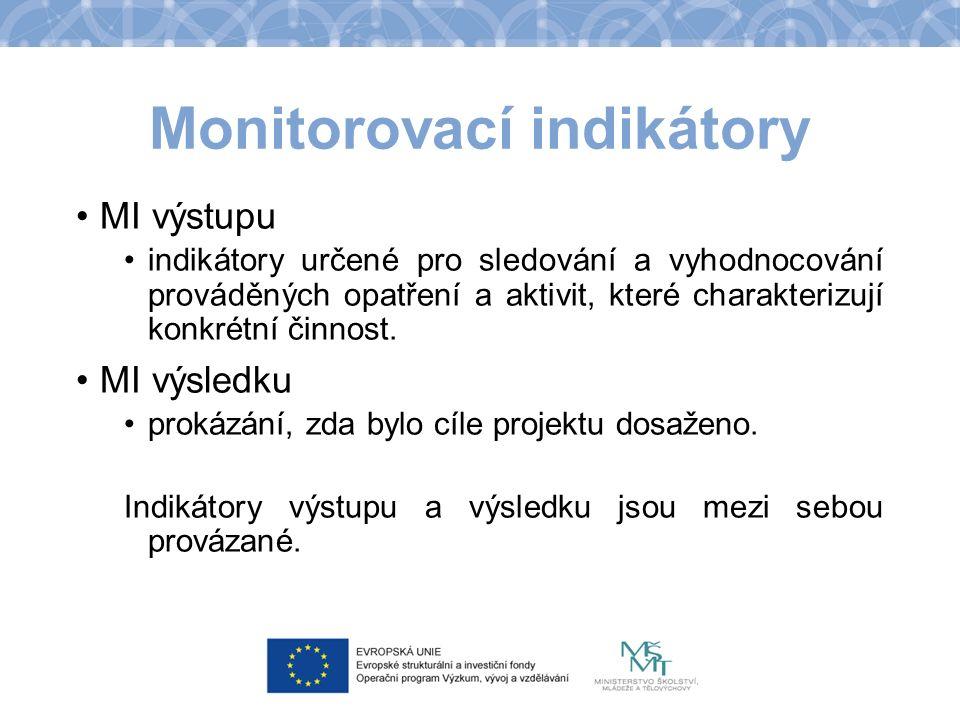 Monitorovací indikátory MI výstupu indikátory určené pro sledování a vyhodnocování prováděných opatření a aktivit, které charakterizují konkrétní činnost.