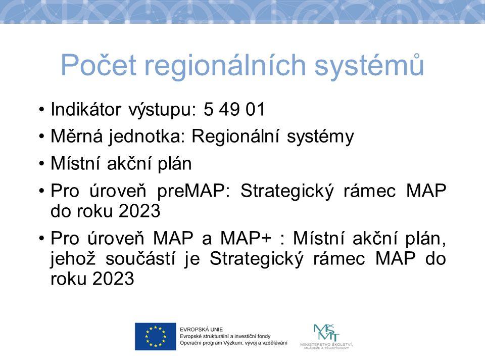 Počet regionálních systémů Indikátor výstupu: 5 49 01 Měrná jednotka: Regionální systémy Místní akční plán Pro úroveň preMAP: Strategický rámec MAP do