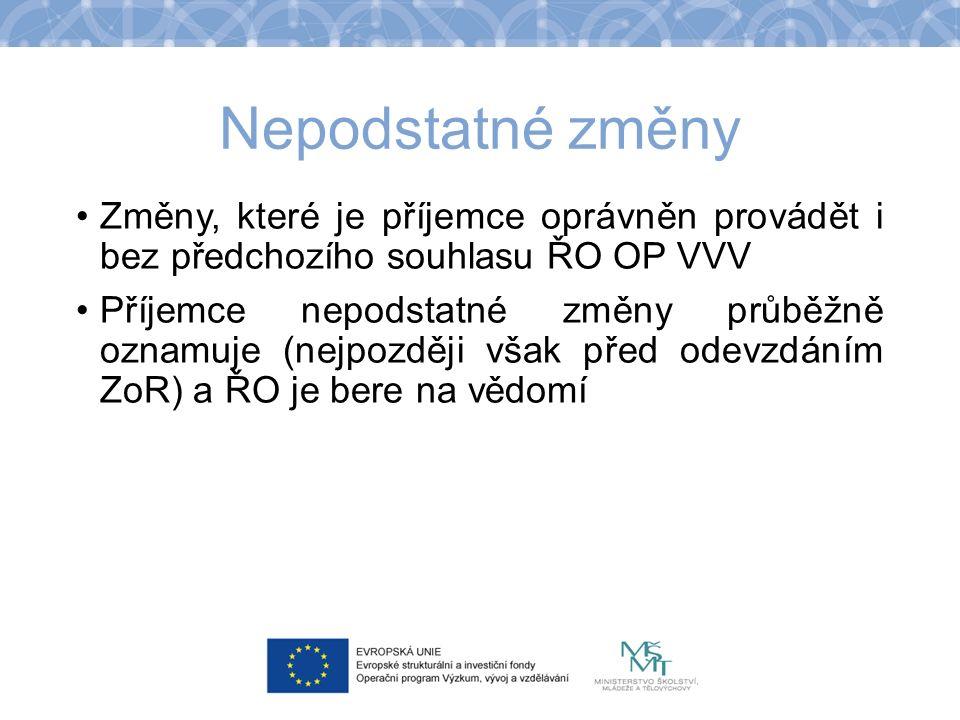 Nepodstatné změny Změny, které je příjemce oprávněn provádět i bez předchozího souhlasu ŘO OP VVV Příjemce nepodstatné změny průběžně oznamuje (nejpoz