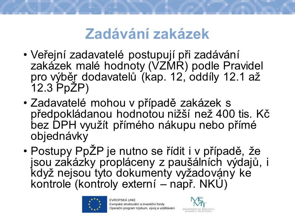 Zadávání zakázek Veřejní zadavatelé postupují při zadávání zakázek malé hodnoty (VZMR) podle Pravidel pro výběr dodavatelů (kap. 12, oddíly 12.1 až 12