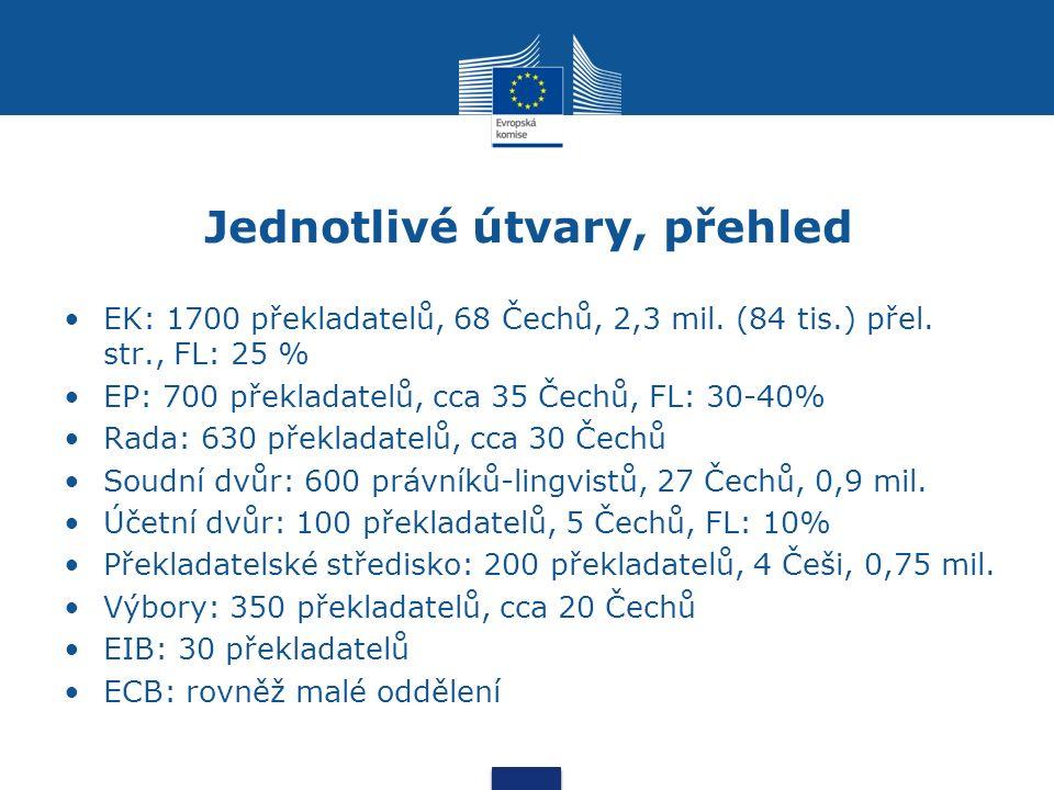 Jednotlivé útvary, přehled EK: 1700 překladatelů, 68 Čechů, 2,3 mil.