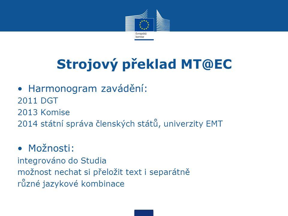 Strojový překlad MT@EC Harmonogram zavádění: 2011 DGT 2013 Komise 2014 státní správa členských států, univerzity EMT Možnosti: integrováno do Studia možnost nechat si přeložit text i separátně různé jazykové kombinace