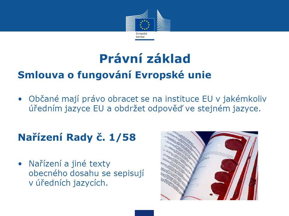 Právní základ Smlouva o fungování Evropské unie Občané mají právo obracet se na instituce EU v jakémkoliv úředním jazyce EU a obdržet odpověď ve stejném jazyce.