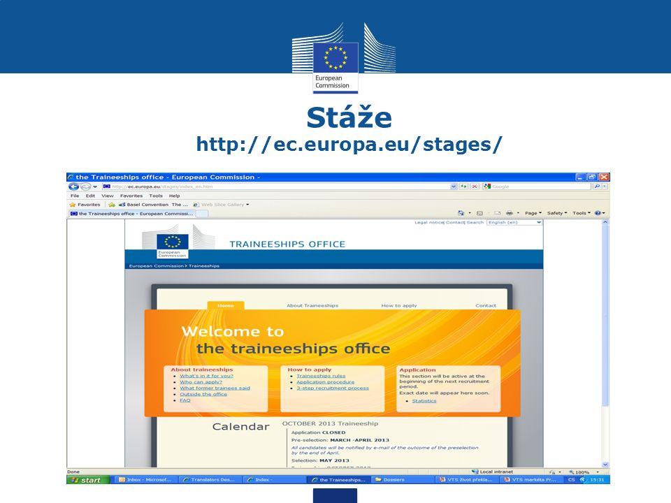 Stáže http://ec.europa.eu/stages/