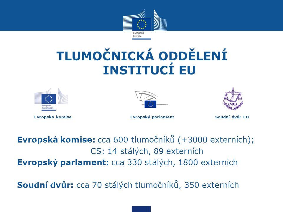 TLUMOČNICKÁ ODDĚLENÍ INSTITUCÍ EU Evropská komise Evropský parlamentSoudní dvůr EU Evropská komise: cca 600 tlumočníků (+3000 externích); CS: 14 stálých, 89 externích Evropský parlament: cca 330 stálých, 1800 externích Soudní dvůr: cca 70 stálých tlumočníků, 350 externích