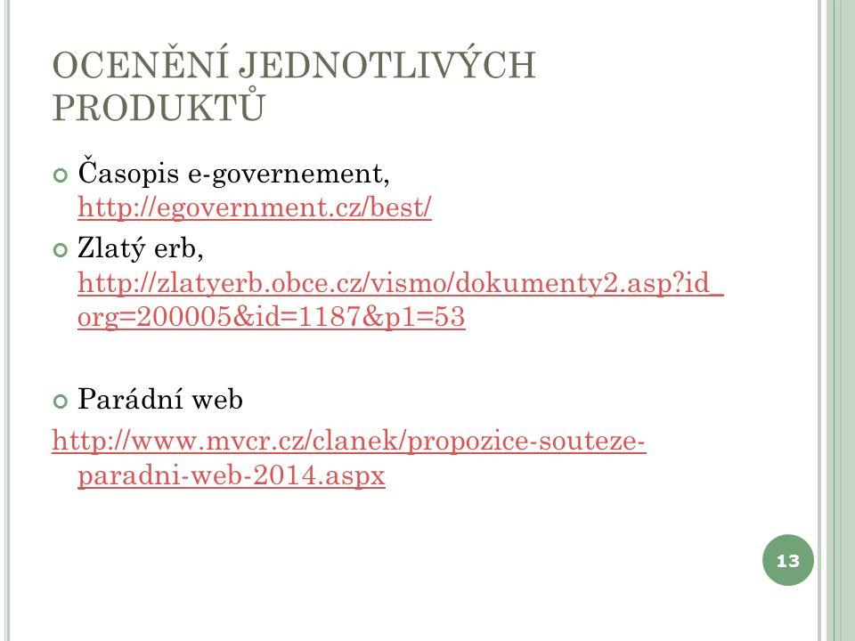 OCENĚNÍ JEDNOTLIVÝCH PRODUKTŮ Časopis e-governement, http://egovernment.cz/best/ http://egovernment.cz/best/ Zlatý erb, http://zlatyerb.obce.cz/vismo/dokumenty2.asp?id_ org=200005&id=1187&p1=53 http://zlatyerb.obce.cz/vismo/dokumenty2.asp?id_ org=200005&id=1187&p1=53 Parádní web http://www.mvcr.cz/clanek/propozice-souteze- paradni-web-2014.aspx 13