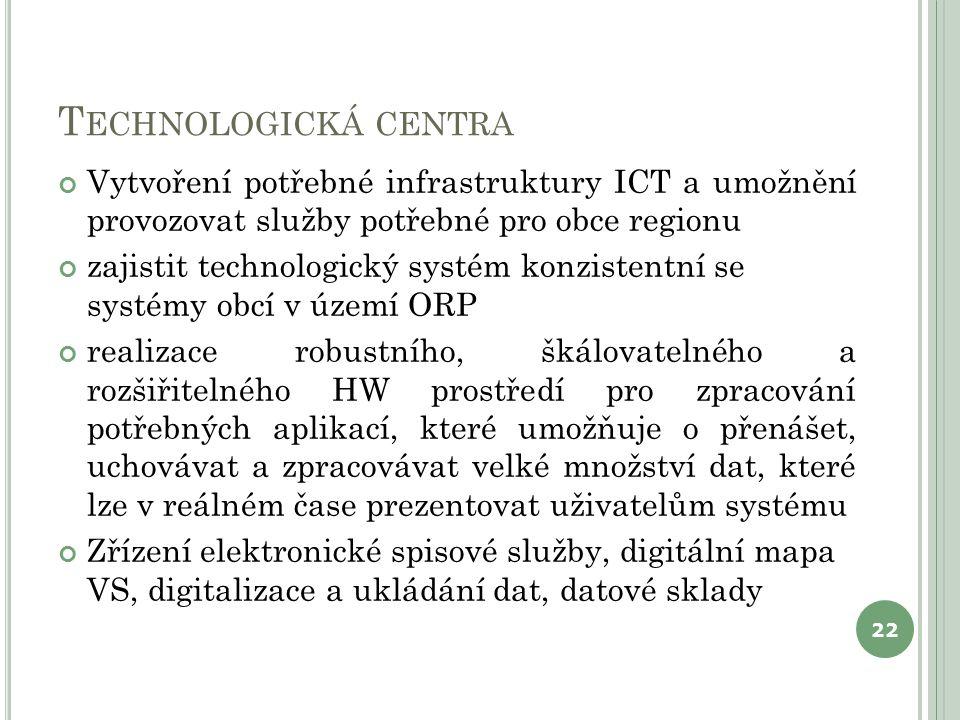 T ECHNOLOGICKÁ CENTRA Vytvoření potřebné infrastruktury ICT a umožnění provozovat služby potřebné pro obce regionu zajistit technologický systém konzi