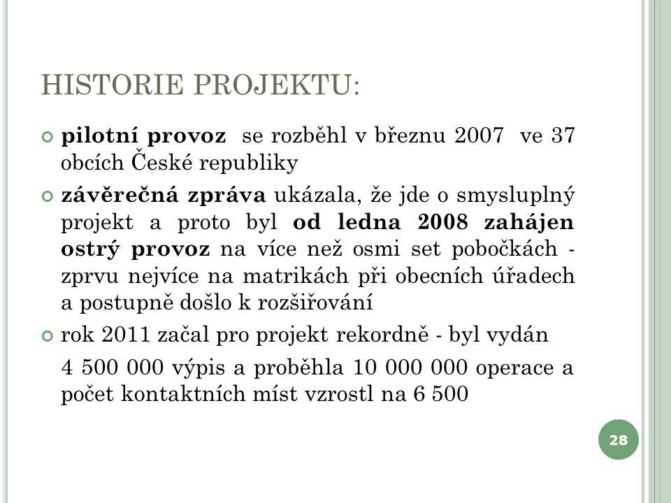 HISTORIE PROJEKTU: pilotní provoz se rozběhl v březnu 2007 ve 37 obcích České republiky závěrečná zpráva ukázala, že jde o smysluplný projekt a proto byl od ledna 2008 zahájen ostrý provoz na více než osmi set pobočkách - zprvu nejvíce na matrikách při obecních úřadech a postupně došlo k rozšiřování rok 2011 začal pro projekt rekordně - byl vydán 4 500 000 výpis a proběhla 10 000 000 operace a počet kontaktních míst vzrostl na 6 500 28