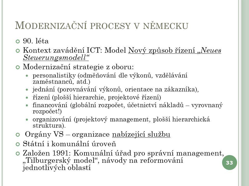 """M ODERNIZAČNÍ PROCESY V NĚMECKU 90. léta Kontext zavádění ICT: Model Nový způsob řízení """" Neues Steuerungsmodell"""" Modernizační strategie z oboru: pers"""