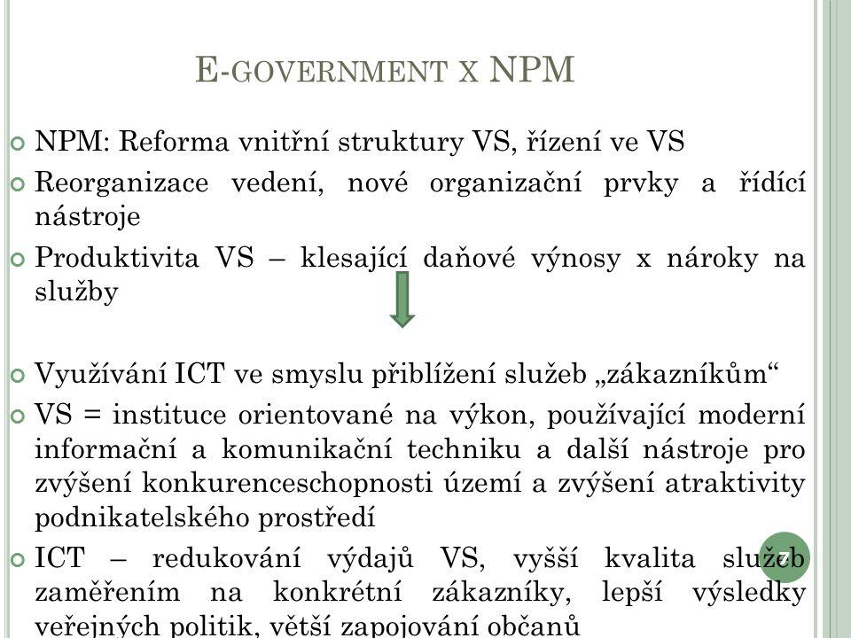 """E- GOVERNMENT X NPM NPM: Reforma vnitřní struktury VS, řízení ve VS Reorganizace vedení, nové organizační prvky a řídící nástroje Produktivita VS – klesající daňové výnosy x nároky na služby Využívání ICT ve smyslu přiblížení služeb """"zákazníkům VS = instituce orientované na výkon, používající moderní informační a komunikační techniku a další nástroje pro zvýšení konkurenceschopnosti území a zvýšení atraktivity podnikatelského prostředí ICT – redukování výdajů VS, vyšší kvalita služeb zaměřením na konkrétní zákazníky, lepší výsledky veřejných politik, větší zapojování občanů 7"""
