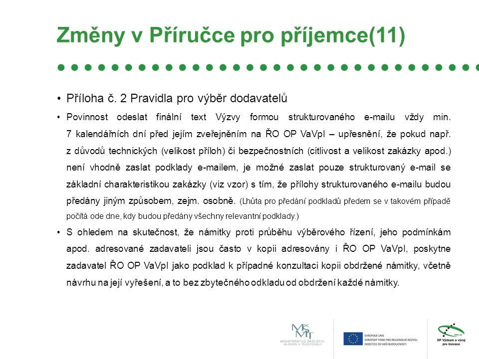 Změny v Příručce pro příjemce(11) Příloha č.