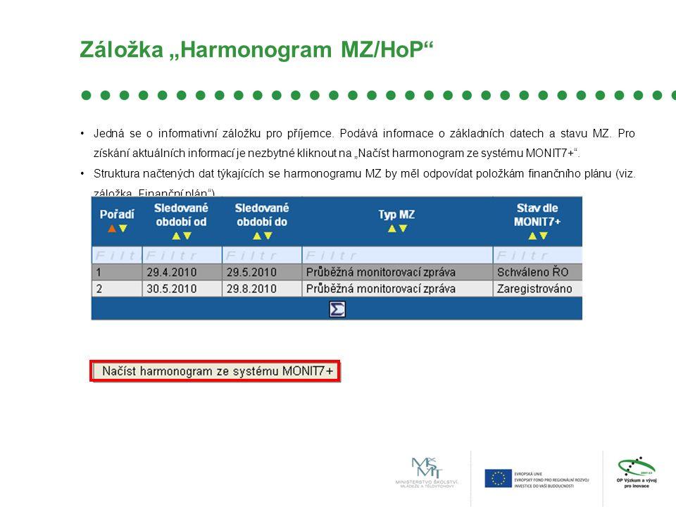 """Záložka """"Harmonogram MZ/HoP Jedná se o informativní záložku pro příjemce."""