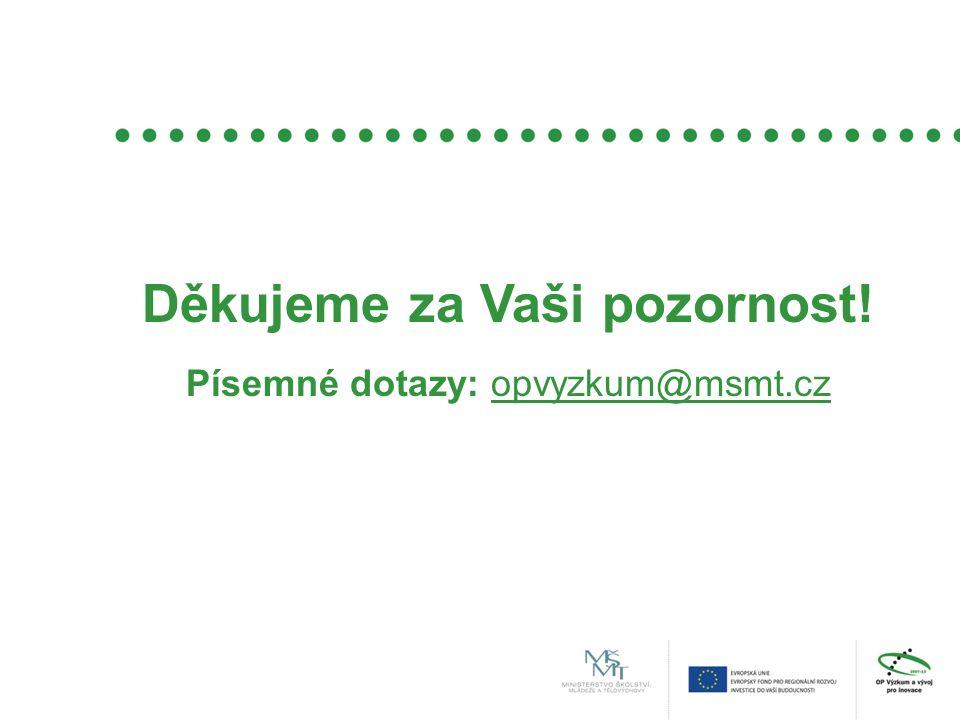 Děkujeme za Vaši pozornost! Písemné dotazy: opvyzkum@msmt.cz