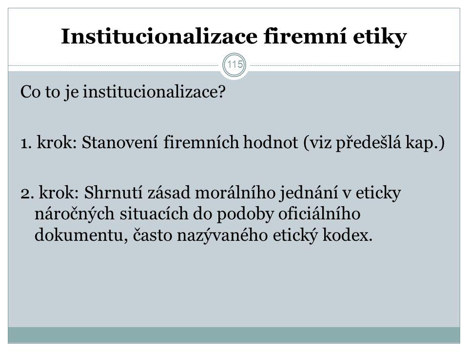 115 Institucionalizace firemní etiky Co to je institucionalizace.