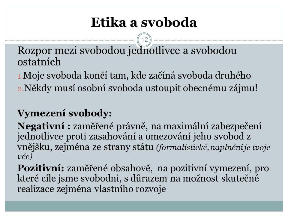 12 Etika a svoboda 12 Rozpor mezi svobodou jednotlivce a svobodou ostatních 1.