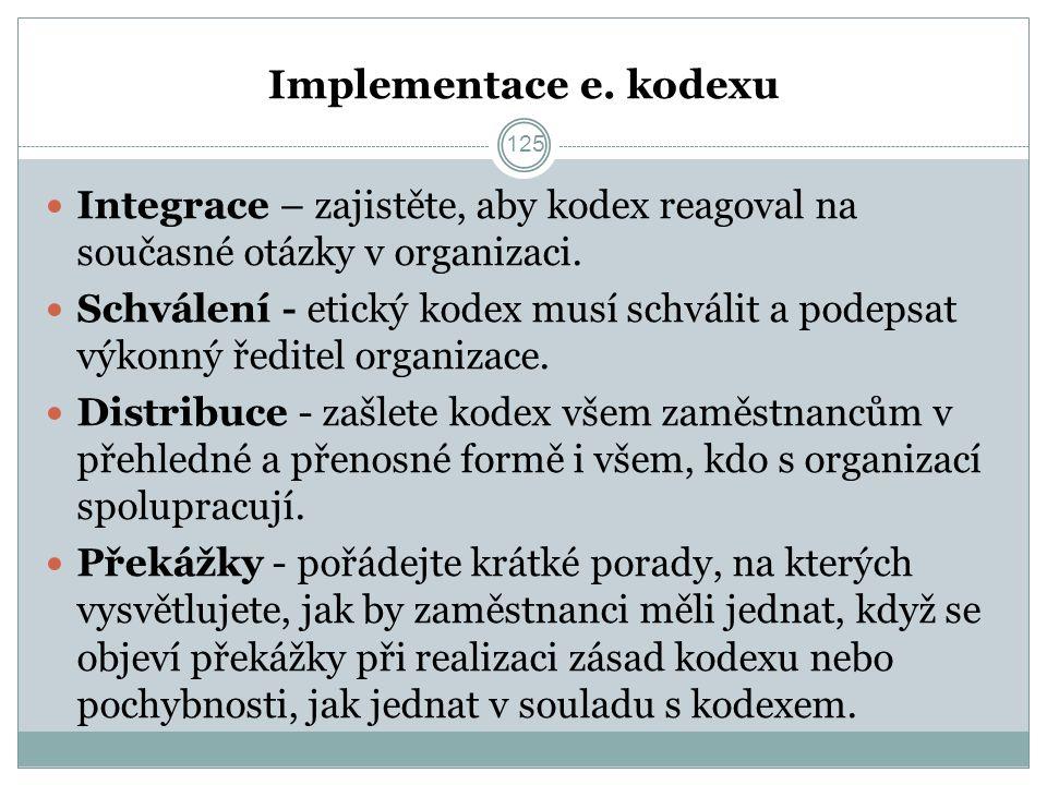 Implementace e. kodexu Integrace – zajistěte, aby kodex reagoval na současné otázky v organizaci.