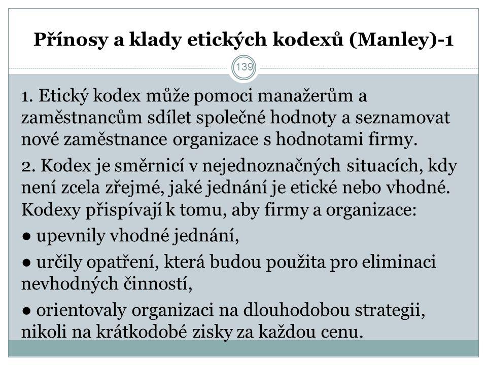 Přínosy a klady etických kodexů (Manley)-1 1.