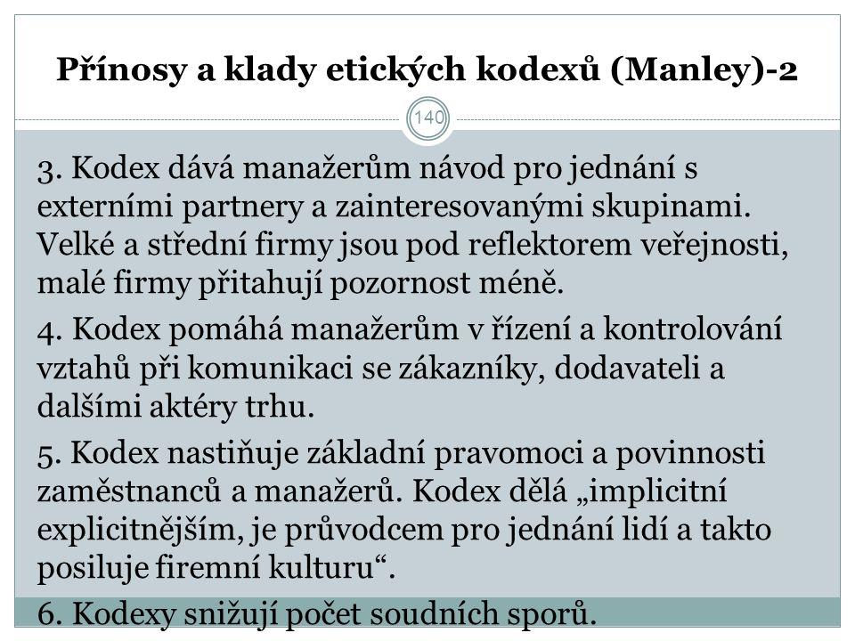 Přínosy a klady etických kodexů (Manley)-2 3.