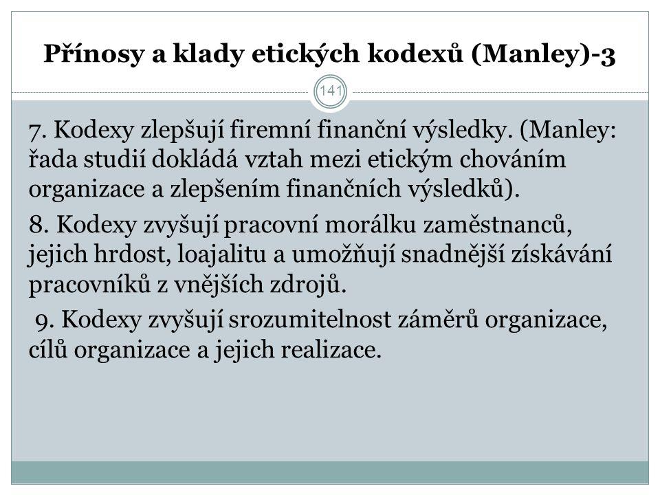 Přínosy a klady etických kodexů (Manley)-3 7. Kodexy zlepšují firemní finanční výsledky.