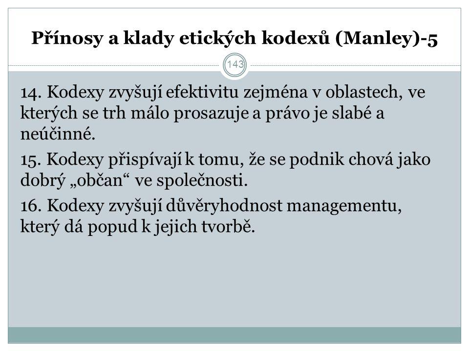 Přínosy a klady etických kodexů (Manley)-5 14.