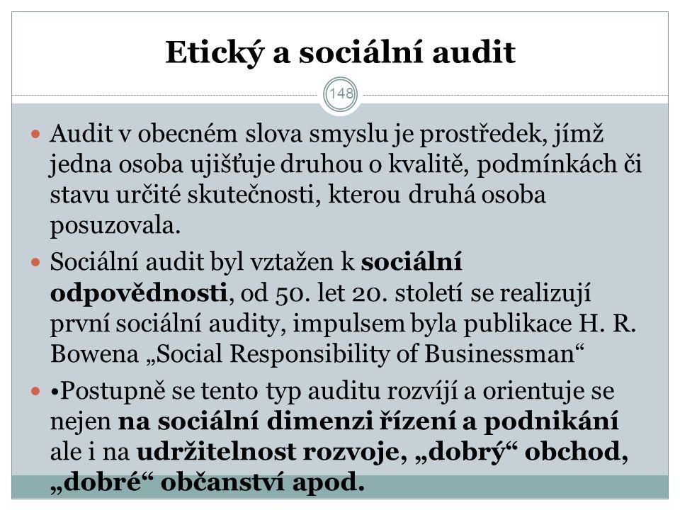 Etický a sociální audit Audit v obecném slova smyslu je prostředek, jímž jedna osoba ujišťuje druhou o kvalitě, podmínkách či stavu určité skutečnosti, kterou druhá osoba posuzovala.