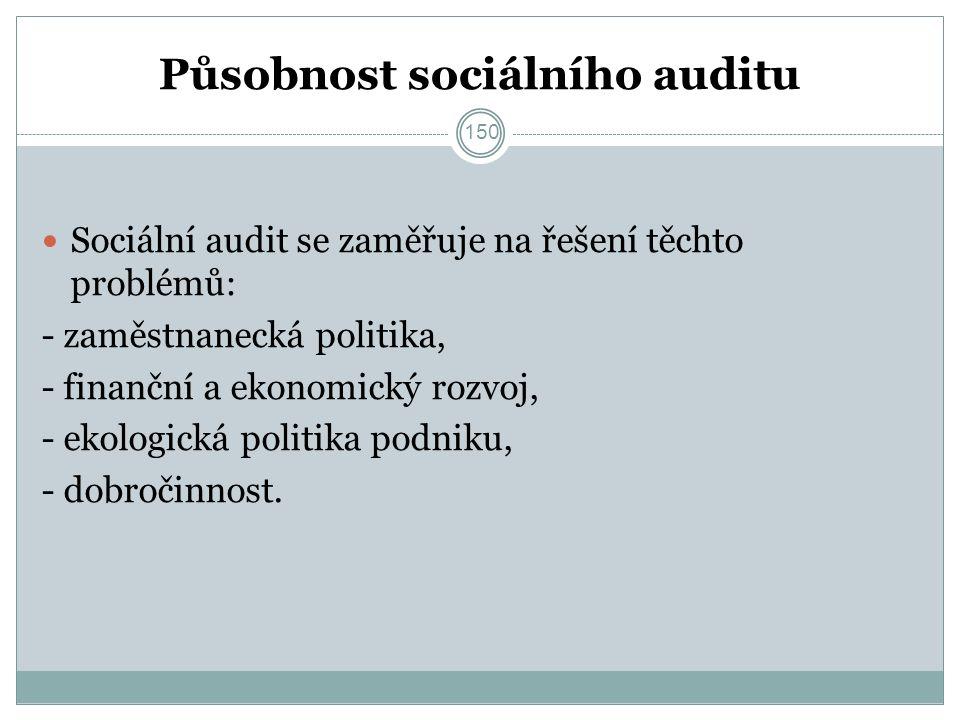 Působnost sociálního auditu Sociální audit se zaměřuje na řešení těchto problémů: - zaměstnanecká politika, - finanční a ekonomický rozvoj, - ekologická politika podniku, - dobročinnost.