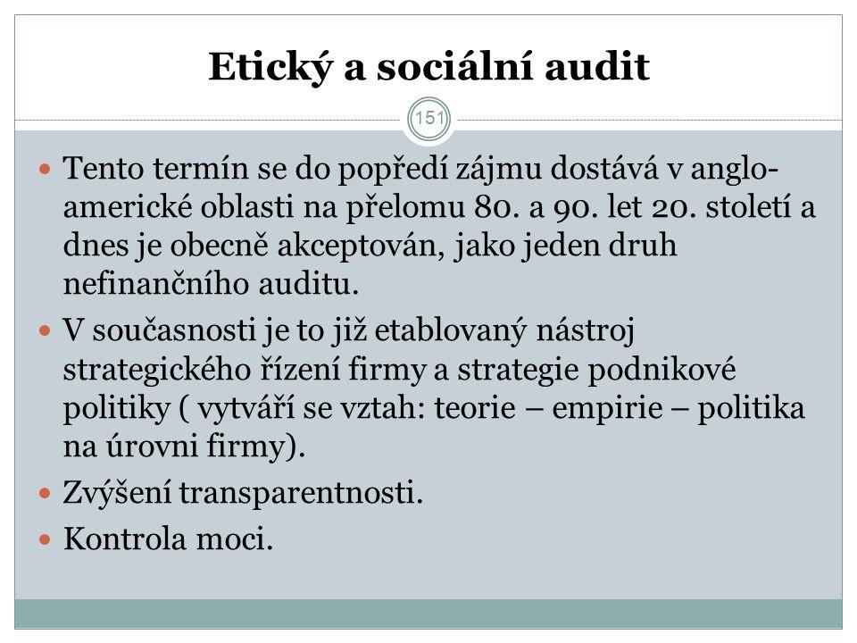 Etický a sociální audit Tento termín se do popředí zájmu dostává v anglo- americké oblasti na přelomu 80.