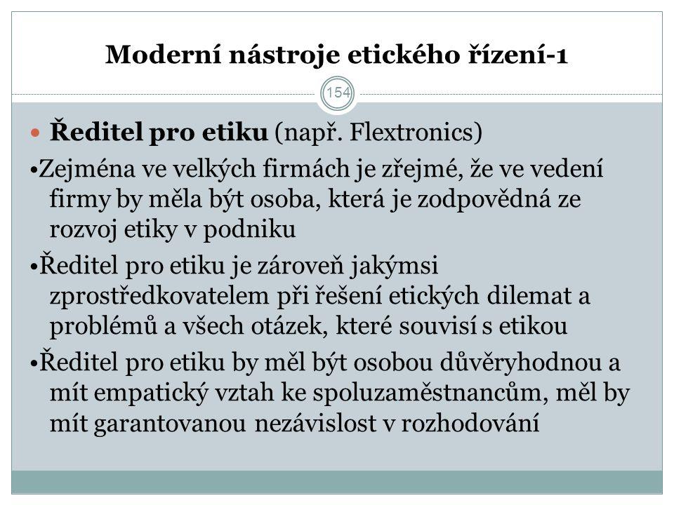 Moderní nástroje etického řízení-1 Ředitel pro etiku (např.