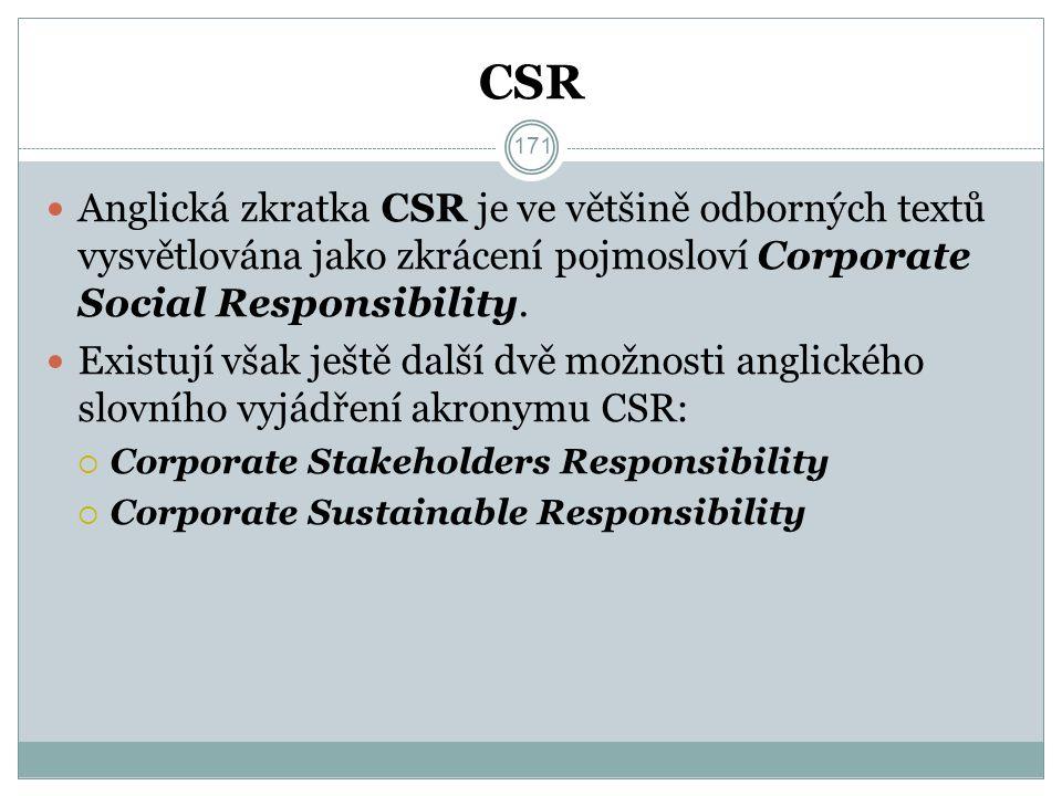 CSR Anglická zkratka CSR je ve většině odborných textů vysvětlována jako zkrácení pojmosloví Corporate Social Responsibility.